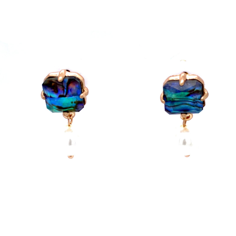 Blue Stone Earrings With Dangling Pearl