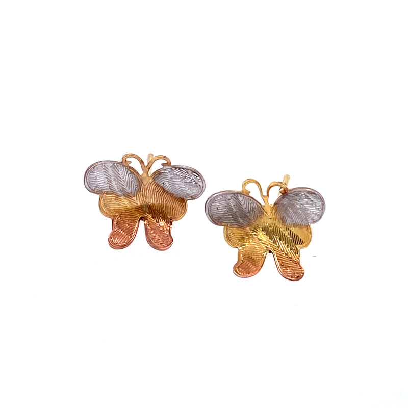 Tri Color Butterfly Stud Earrings