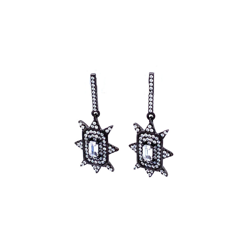 Fun Gunmetal Cubic Zirconia Earrings