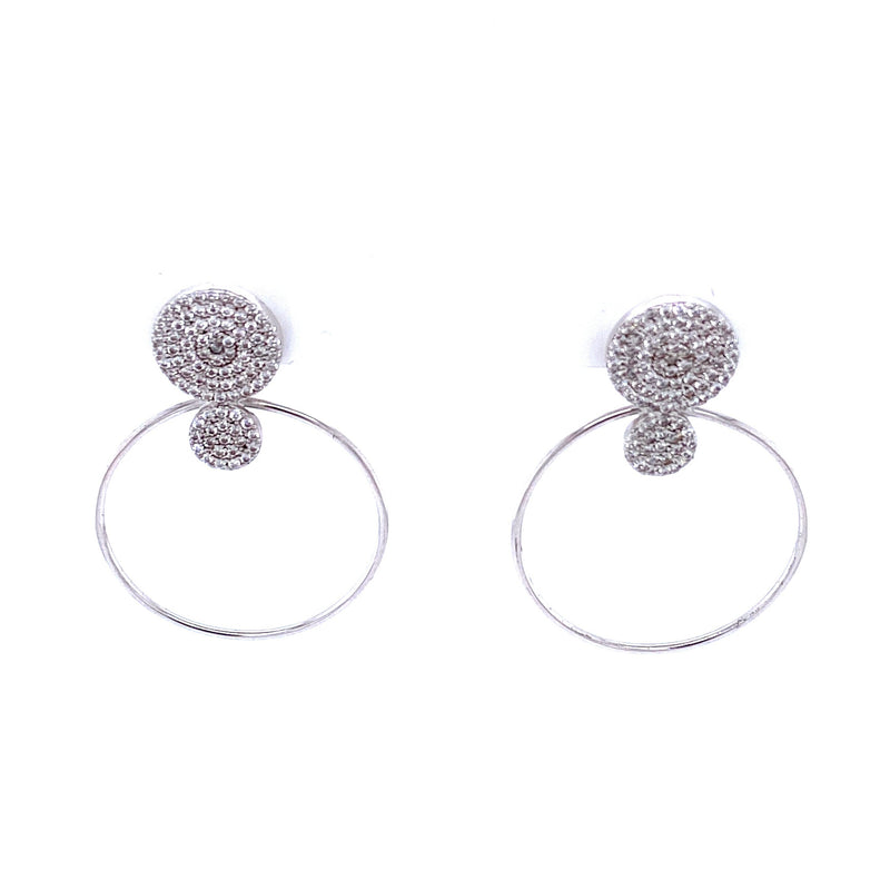 Pavé Circle Drop Earrings
