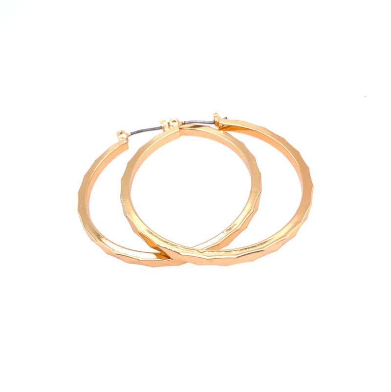 Textured Hoop Earrings in Gold