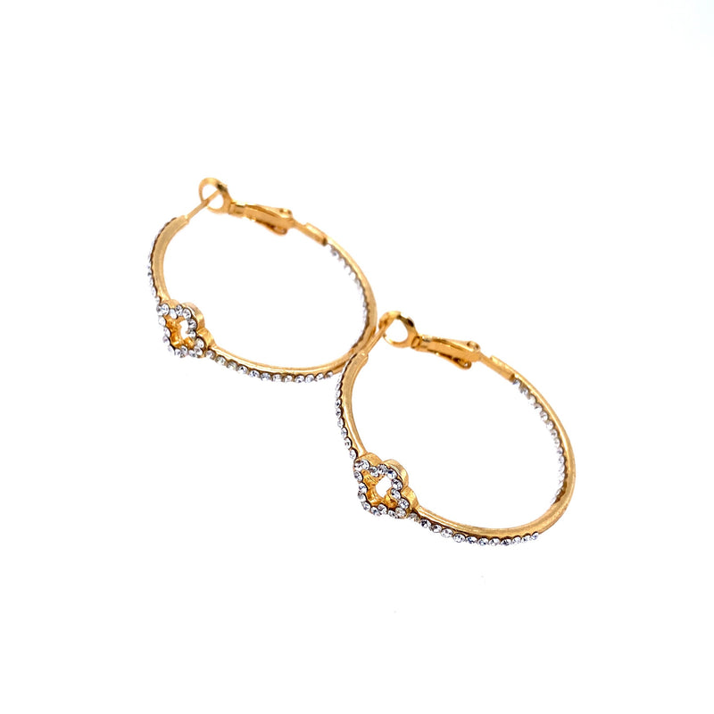 Crystal Hoops With Clover Detail