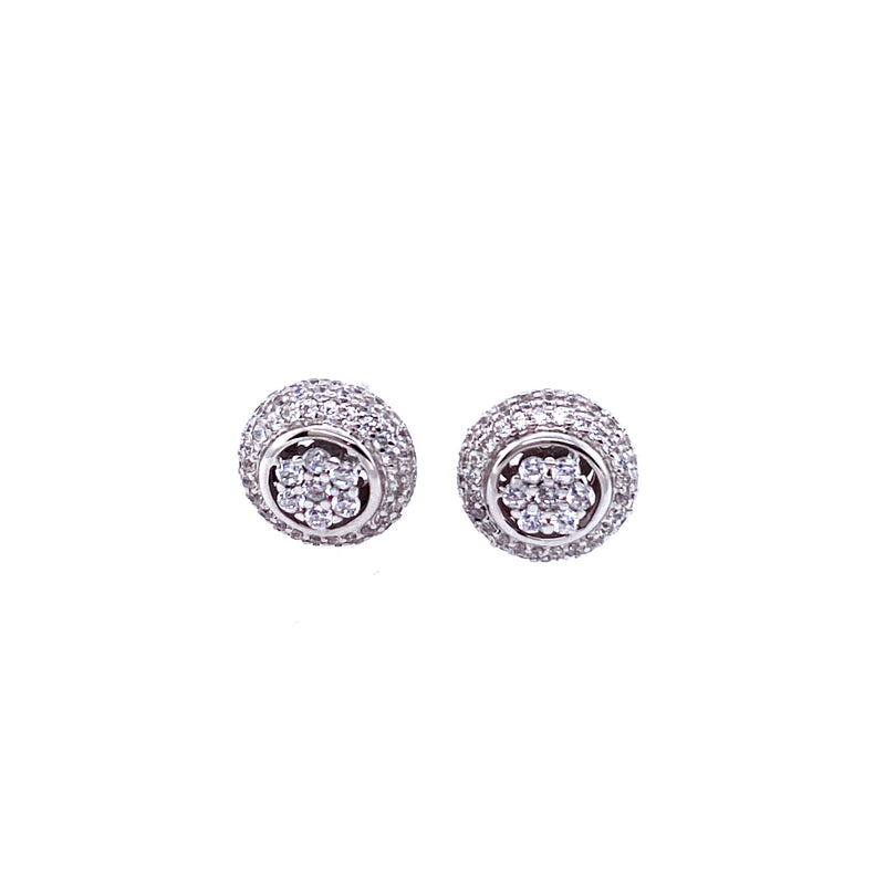 Sparkling Studs With Flower Center