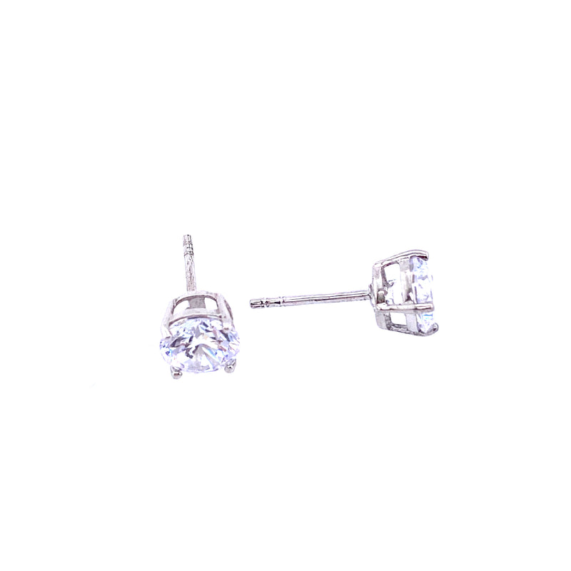 Classic Cubic Zirconia Studs In Silver - 7mm