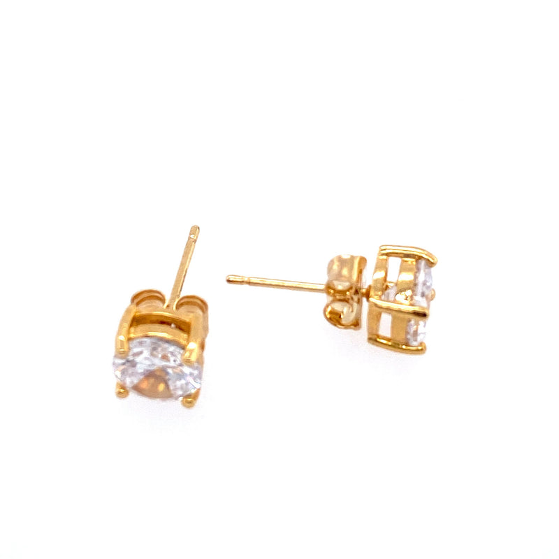 Classic Cubic Zirconia Studs in Gold - 6mm