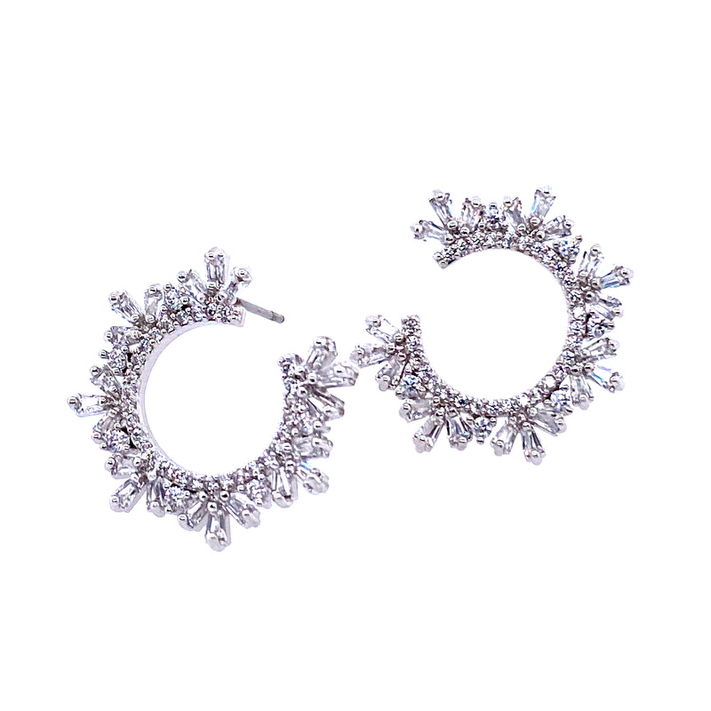 Sparkling Baguette Open Circle Earrings