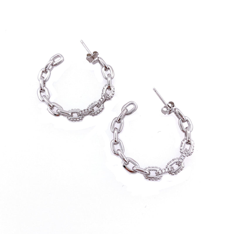 Link Hoops With Cubic Zirconia in Silver
