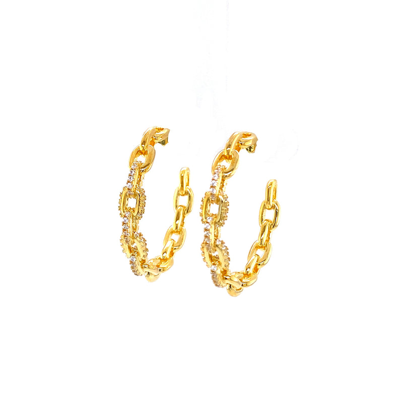 Link Hoops With Cubic Zirconia in Gold