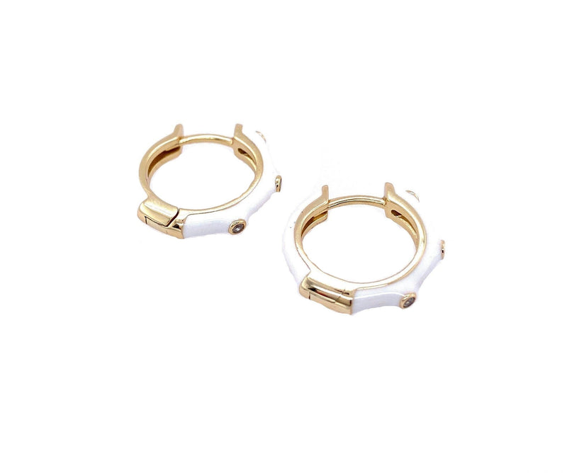 White Enamel Huggies With Bezels