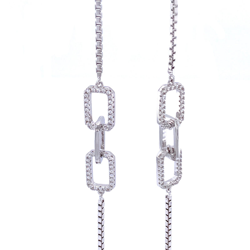 Link & Chain Long Linear Earrings in Silver