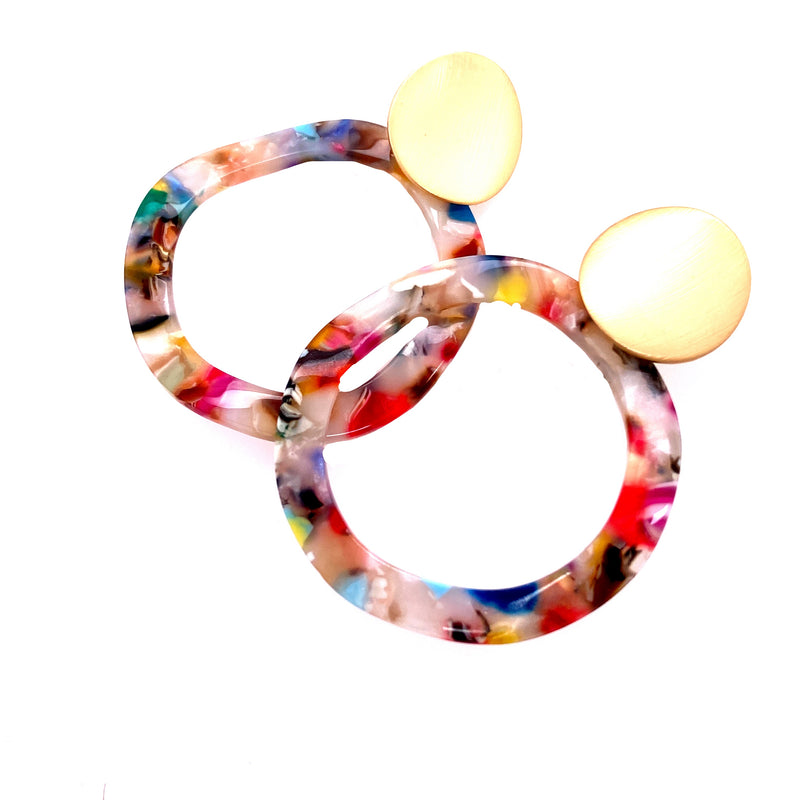 Tort Circle Drop Summer Earrings