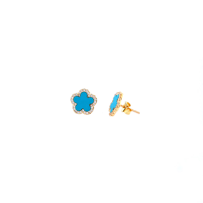 Small Turquoise Flower Studs