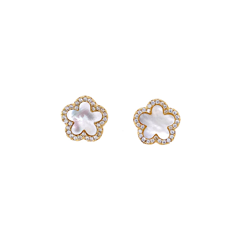 Small Mother-of-Pearl Flower Studs