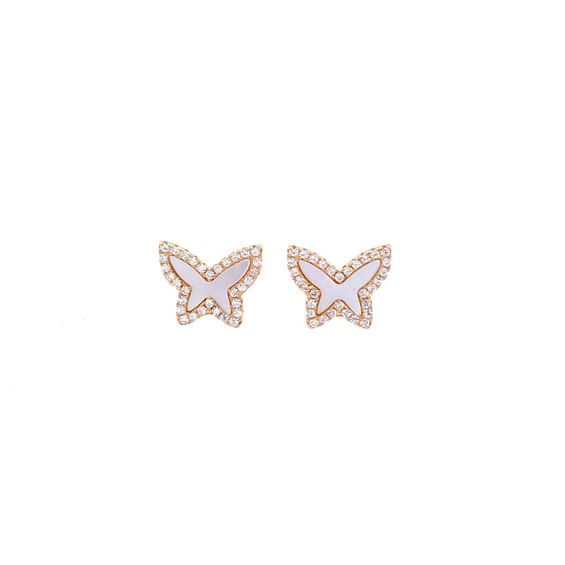 Mini Mother-of-Pearl Butterfly Studs in Gold