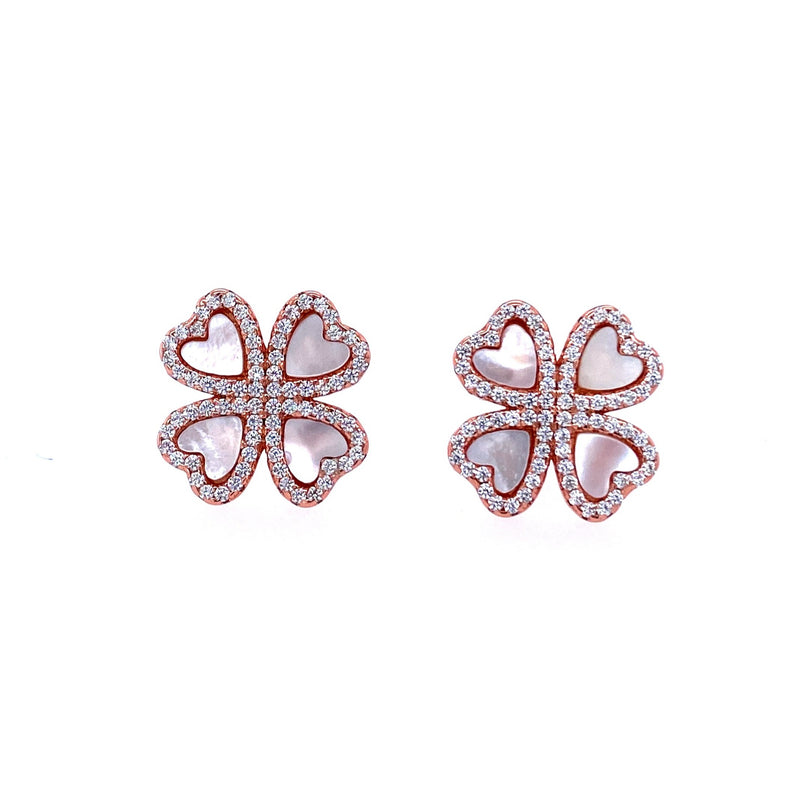 Four Heart Flower Studs in Rose Gold
