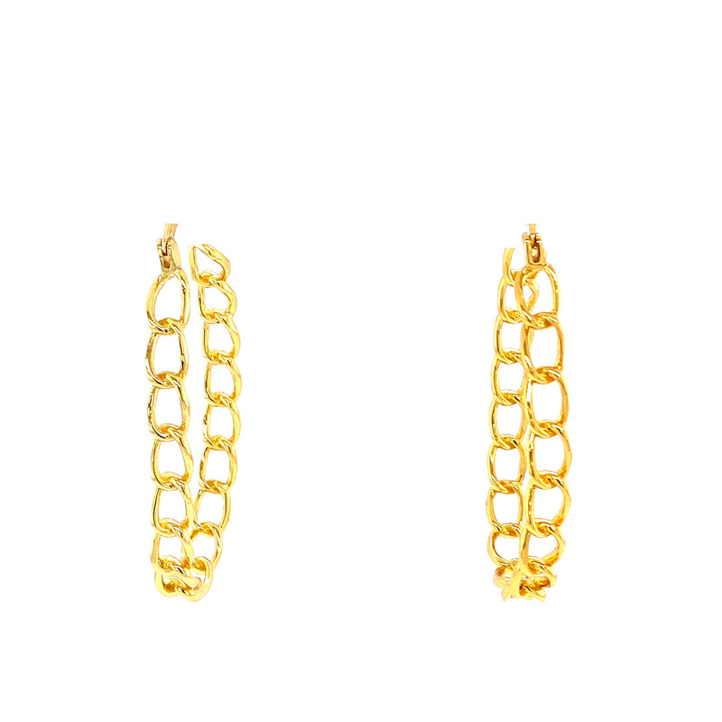 Link Chain Oval Hoop Earrings