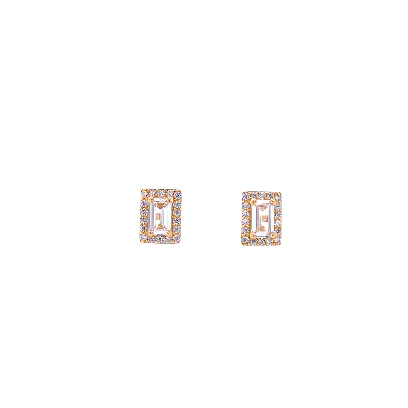 14K Gold Baguette Rectangle Studs