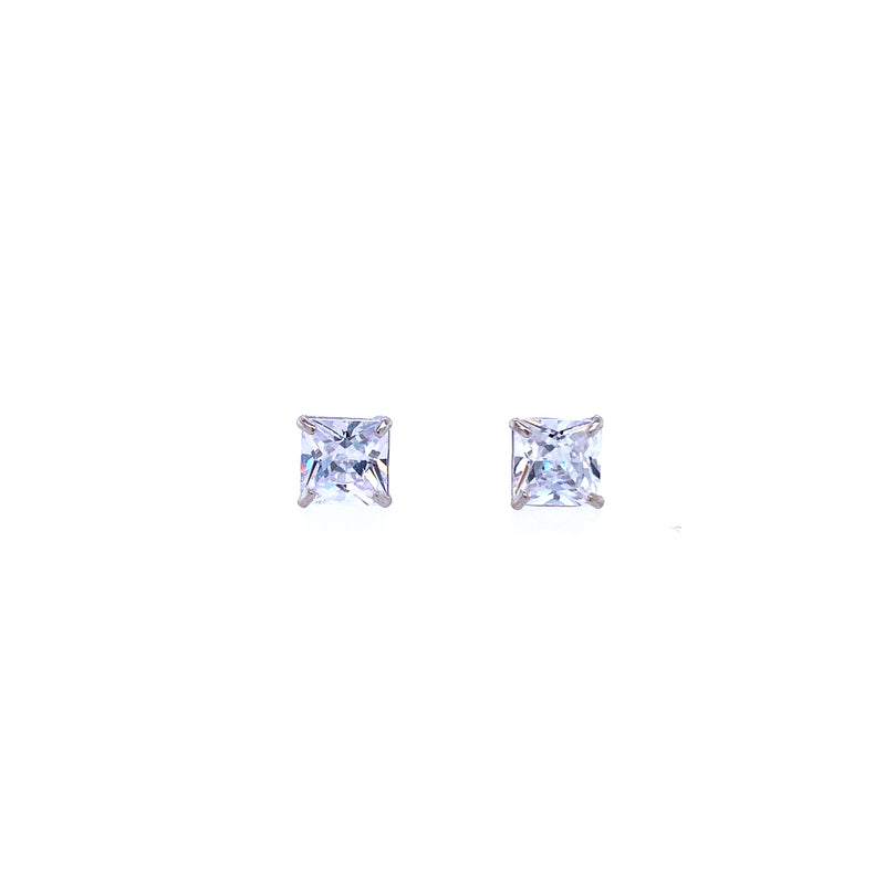 14K White Gold 5mm Square Studs