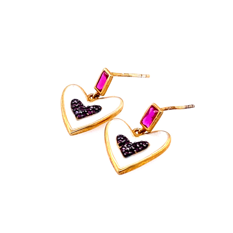 Enamel Heart Earrings With Fuchsia Detail