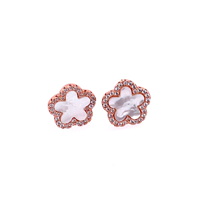Small Mother-of-Pearl Flower Studs In Rose Gold