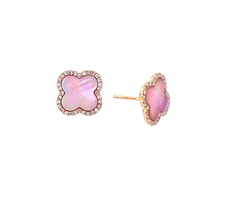 14K Gold Pink Mother of Pearl & Diamond Clover Studs