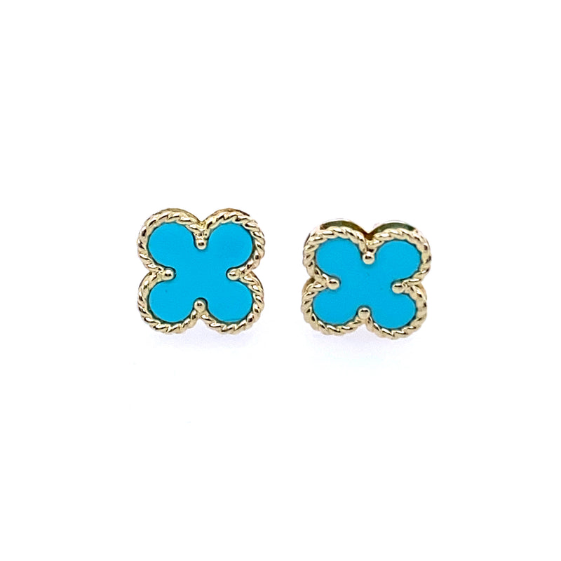 14K Gold Turquoise Clover Studs