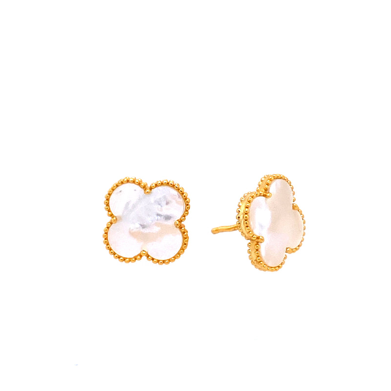 Mother-Of-Pearl Clover Studs