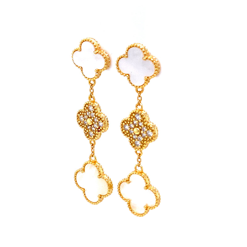 Mother-Of-Pearl Three Clover Drop Earrings