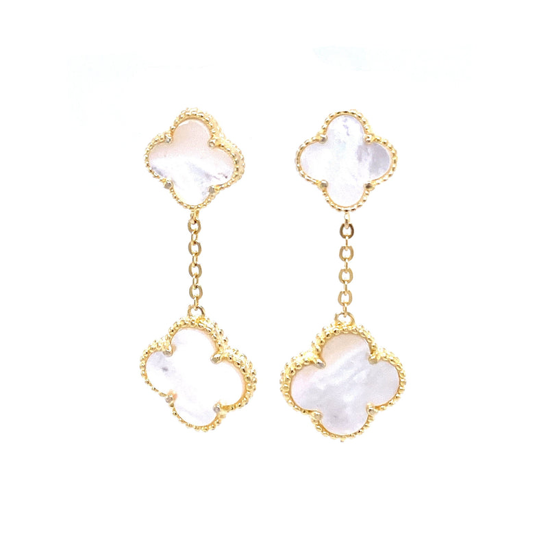 Mother-Of-Pearl Clover Drop Earrings