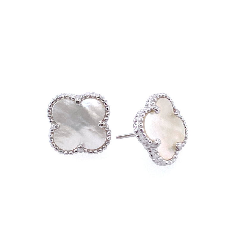 Mother-Of-Pearl Clover Studs in Silver