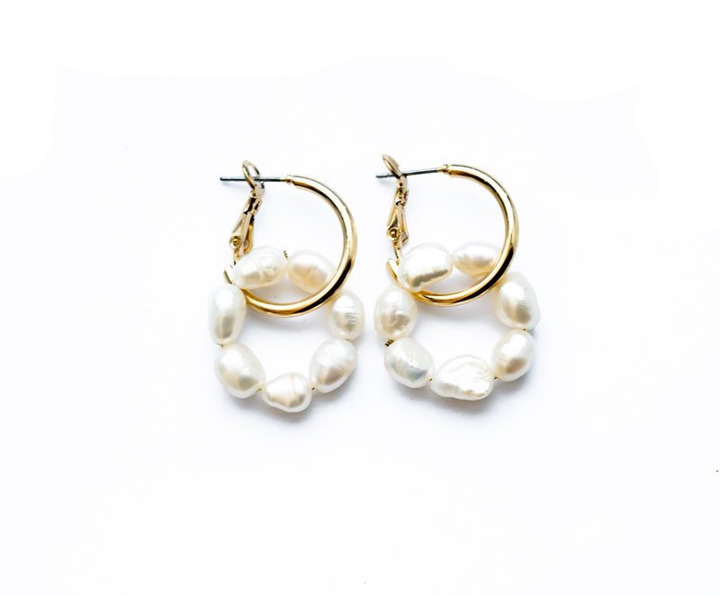 Pearl Double Hoop Earrings