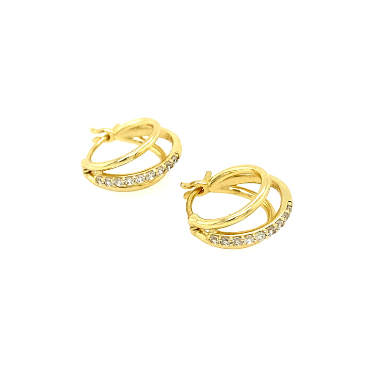 Triple Hoop Earrings With CZ