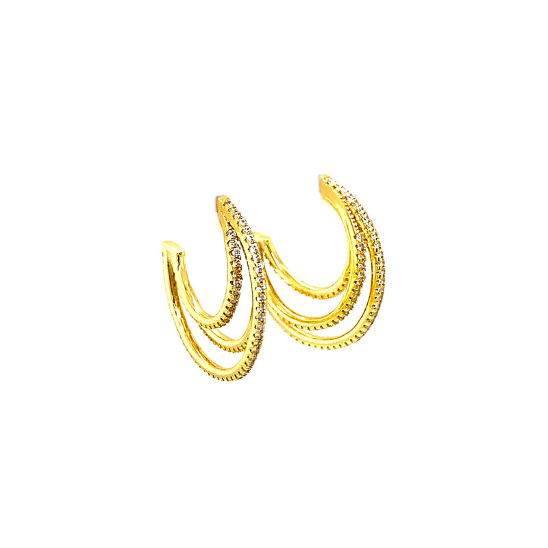 Sparkling Triple Hoop Earrings