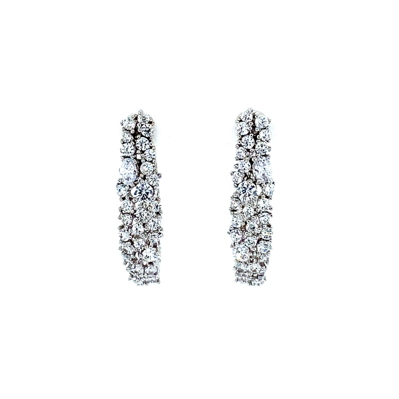White Topaz Hoop Style Earrings