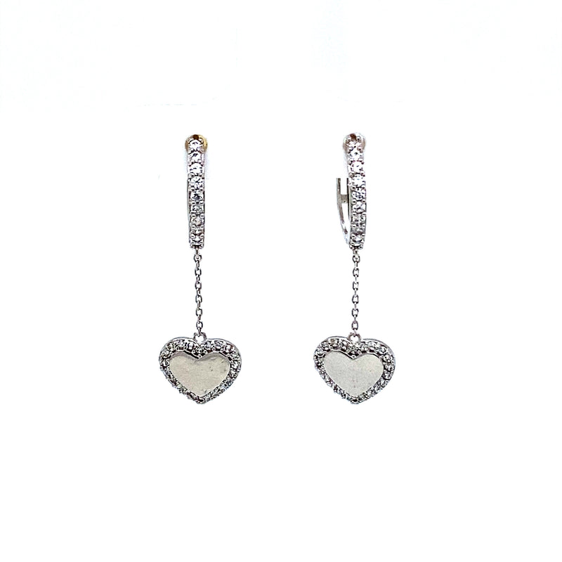 14K White Gold Huggies With Heart Drop