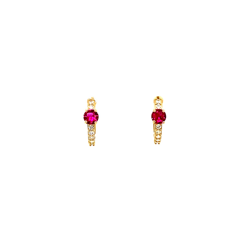 14K Gold Huggies With Vibrant Pink Stone