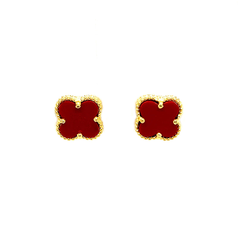 Deep Red Small Clover Stud Earrings