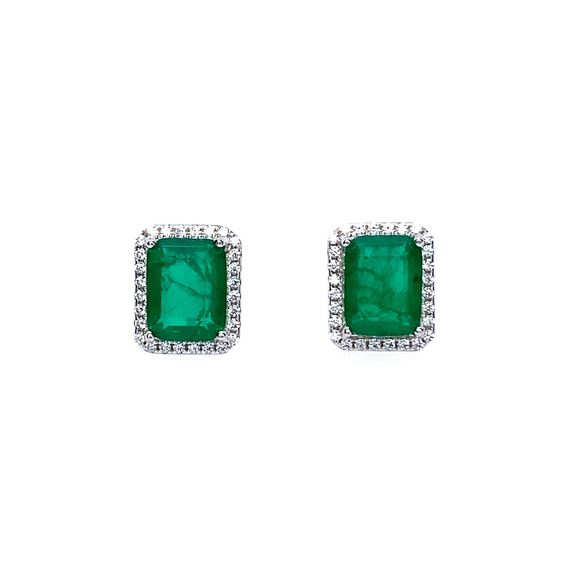 Emerald Green Rectangle Stud with Cubic Zirconia