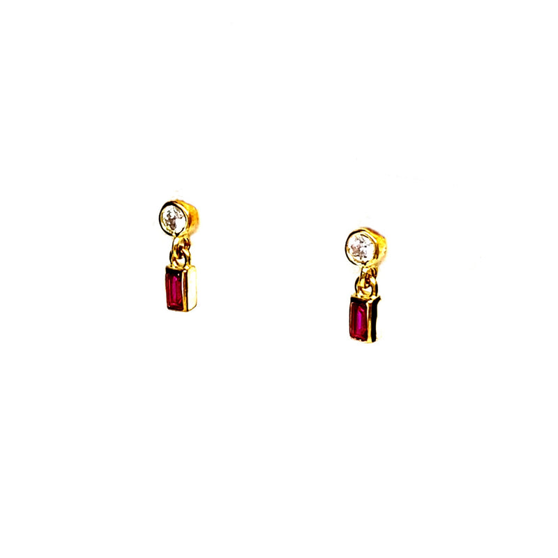 Mini Ruby Stud Dangle Earrings