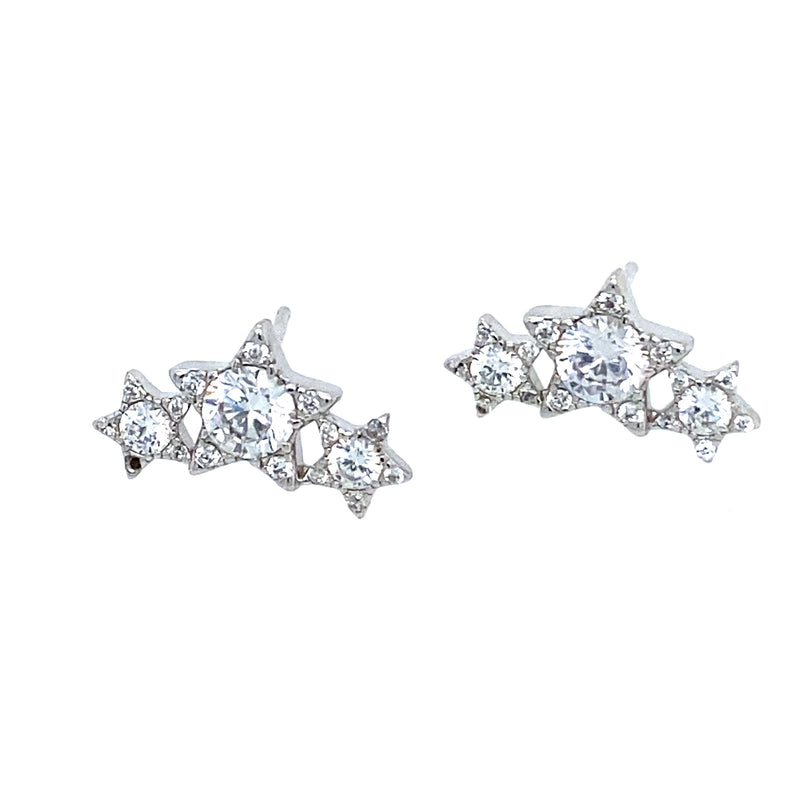 Triple Star Ear Climber Studs