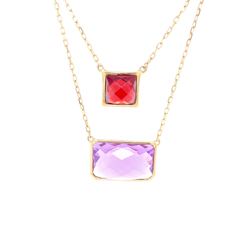14K Gold Necklace With Amethyst & Garnet Gemstones