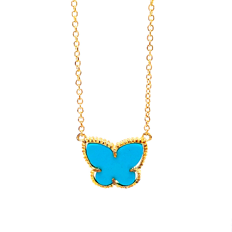 Butterfly Turquoise Pendant Necklace
