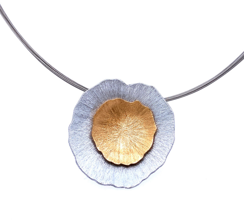 Double Crater Wire Necklace in Gold