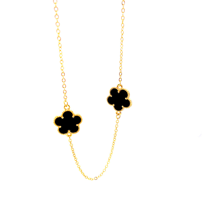 Long Black Stone Flower Necklace
