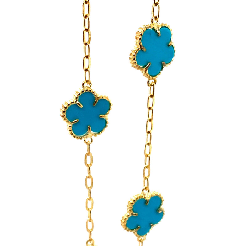 Turquoise Flower Link Necklace