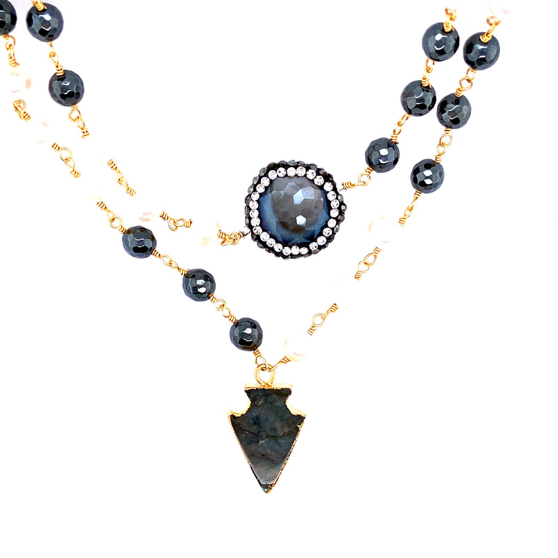 Freshwater Pearl Beaded Necklace With Labradorite & Swarovski Crystals