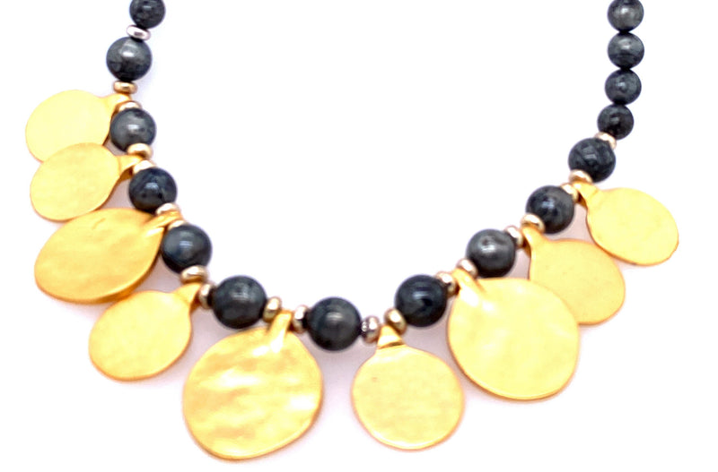 Beaded Long Necklace With Gold Coins