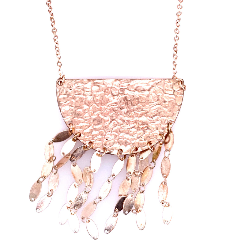 Long Statement Necklace in Rose Gold