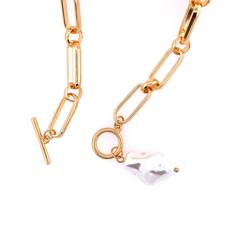 Large Link Toggle Necklace With Pearl Pendant