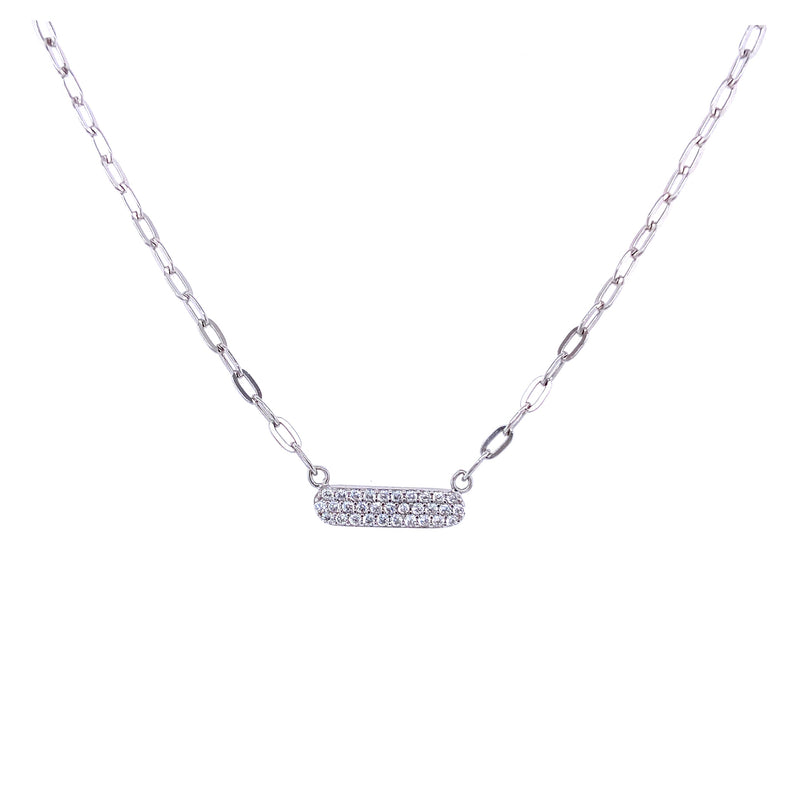 Mini Link Chain Necklace With CZ Bar